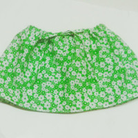 Infant Skirt Toddler Skirt Girl Skirt Green White Flowers with Drawstring