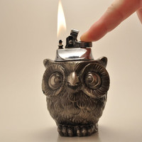 Cute Working Owl Table Lighter by ADelightfulFind on Etsy