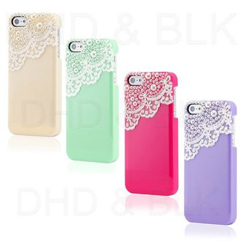 Hand Made Laces and Pearls Color Hard Case Back Cover Shell for iPhone 5