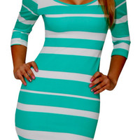 Real Desire (Mint/White)-Great Glam is the web&#x27;s best online shop for trendy club styles, fashionable party dresses and dress wear, super hot clubbing clothing, stylish going out shirts, partying clothes, super cute and sexy club fashions, halter and tube