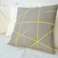 Grey linen with neon yellow stripes pillow cover by PALEOLOCHIC