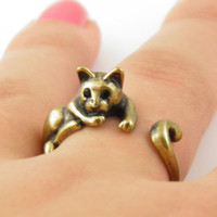 Gold Lazy Cat Wrap Ring