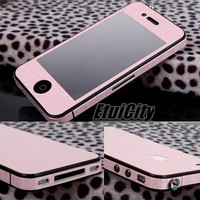 Full Body Film Sticker Protector Glitter Bling Bumper Skin Cover For iPhone 4 4S