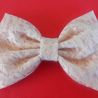 New Champagne Lace Fabric Hair Bow, Girls Hair bow, Big Bow