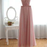 Blush Pink Peach Chiffon Wedding Dress, Bridesmaid Dress, Prom Dress - Sweetheart Open See Through Back