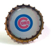 Chicago Cubs Adjustable Ring and Earrings Set