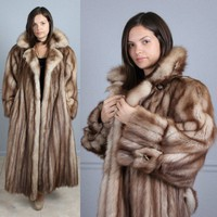 GORGEOUS VTG 80s CHLOE BELTED FULL LENGTH STONE MARTEN SABLE FUR COAT XL