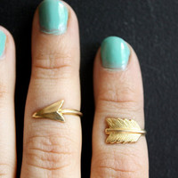 First Knuckle Adjustable Arrow Rings   Set of by ChristineDomanic
