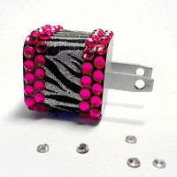 Zebra Glitter & Rhinestone iPhone USB Charger by VanityCases
