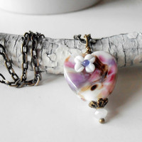 Heart Necklace Valentines Day Jewelry Lampwork Glass Heart Pendant Pink and Purple Beaded Pendant Antiqued Bronze