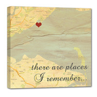 Romantic Map with Quote Art Customized with Places and Names 10X10 Custom Canvas