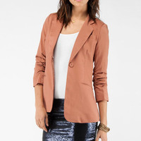 Ruched Sleeve Blazer in Dusty Coral :: tobi