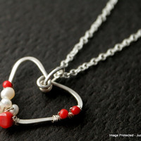 Valentine heart necklace white pearl red coral by JudysDesigns