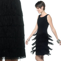 Black FRINGE Dress 60s Cocktail Tiered Flapper 1960s by oldage