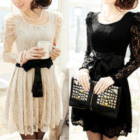 new 2013 Sexy Lady&#x27;s Long Sleeve Lace Leopar Formal Party Dress Evening T-shirt