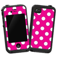 "Amazon.com: White Polkadot on Hot Pink ""Protective Decal Skin"" for LifeProof 4/4S Case: Electronics"