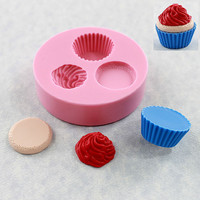 Kawaii Cupcake Mold Mould Resin Polymer Clay Wax Chocolate Fondant (321)