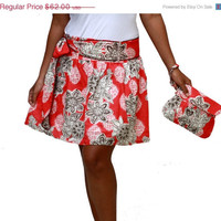Valentine Sale Coral Brown Mini Skirt and Clutch Matching Set