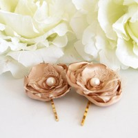 BOGO SALE - Set Of 2 Bronze Silky Satin Hair Flowers | Luulla