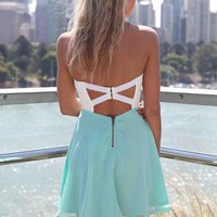 White&amp;Teal Strapless Dress with Lace Bodice&amp;Cutout Back