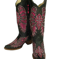 Corral Boots Ladies Black and Pink Wing & Cross with Studs A1049 Free Shipping