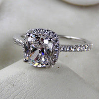 Diamond Engagement Ring!3 Carat Classic Halo Style Cushion Shape , SONA