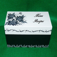 Elegant Recipe Box Wood Recipe Card Box Painted Floral Wooden Personalized Custom Victorian Black