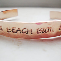 Beach Bum handstamped hammered copper cuff with sea turtles down each side