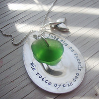 The voice of the sea hand stamped teaspoon with genuine sea glass