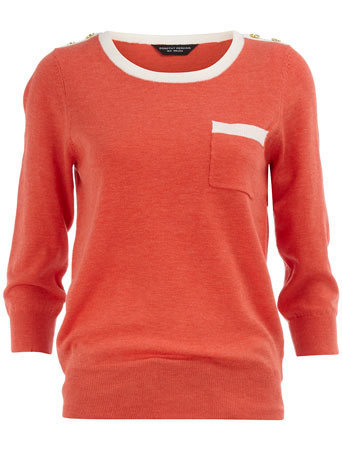Tipped crew neck jumper - Knitwear & Cardigans - Clothing - Dorothy Perkins