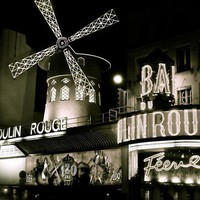 Moulin Rouge at Night Paris b&w photo by WanderkinPhotography