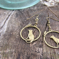 Cat and Mouse Earrings Aged brass charms by donnaelizabethdesign