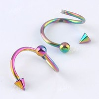 1PC 18G Colorful Stainless Steel Screw Spiral Spike Ball Body Earring Piercing