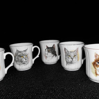 5 CATS MUGS Fine English Cat motif mugs by WHOLESALEtoEVERYONE