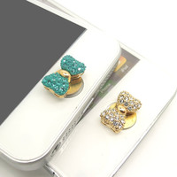 1PC Paved Bling Crystal Fashion Bow Alloy Apple iPhone Home Button Sticker for iPhone 4,4s,4g, iPhone 5, iPad, Cell Phone Charm
