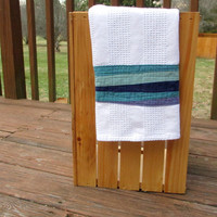 Modern Blue Kitchen Towel, Blue Waves, Blue Hand Towel