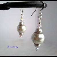 Hand Wire Wrap White Shell Pearl Earrings Featuring Swarovski Crystal