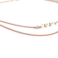 Necklace double chain pure copper pearls sterling by Daniblu