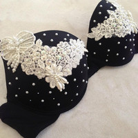 Lace and Pearl Bra by VintageAndUrbanSouls on Etsy