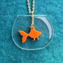 The Goldfish NecklacePlexiglassJewelryLasercut by bugga on Etsy