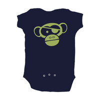 Baby Boy Pirate Chimp Monkey Design Navy Bodysuit by apericots