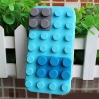 Amazon.com: LeGo Block Case Style Soft Silicone Case Cover for iPhone 4 and 4S blue: Cell Phones & Accessories