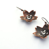 Copper and Silver Blossom Earrings, Riveted Earrings, Botanical Jewelry