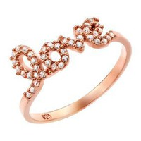 Rose Gold Plated Love Cz Ring: Jewelry: Amazon.com