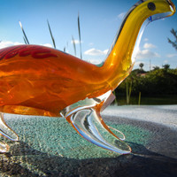 Yellow and Orange Dinosaur shaped Clear Hand Blown Glass Pipe