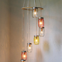 Pink Lemonade - Mason Jar Chandelier Hanging Light Fixture - Spiral Waterfall Rustic Mason Jar Wedding Lighting - BootsNGus Lamp Design