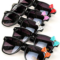 NEW Black Sunglasses with Colorful Polka Dot Bow - Multiple Color Choices
