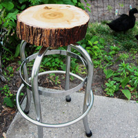 Handmade/Vintage Natural Finished Hickory Wood Bar Stool