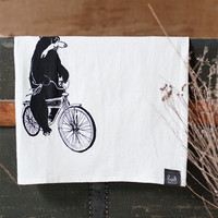 Comandeered by Wilderness - Screen printed Flour Sack towel Funny Humor Bear on bike Kitchen Dish Towel - by Bark Decor