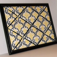 Black &amp; Yellow Damask fabric ~ Black Wood Framed Memo Board by ToileChicBoutique